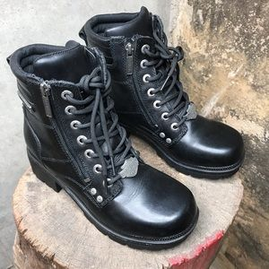 Harley Davidson black zip up lace up boots